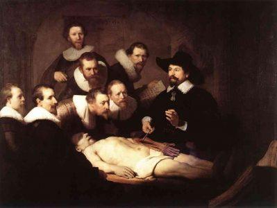 Lição de anatomia do Dr. van der Meer Quadro de van Mierevelt, 1617.